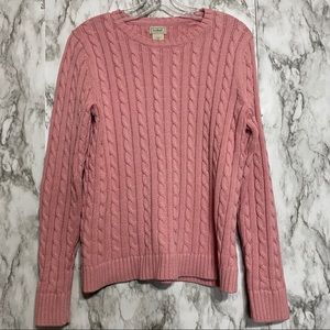 L.L. Bean Pink cable knit sweater